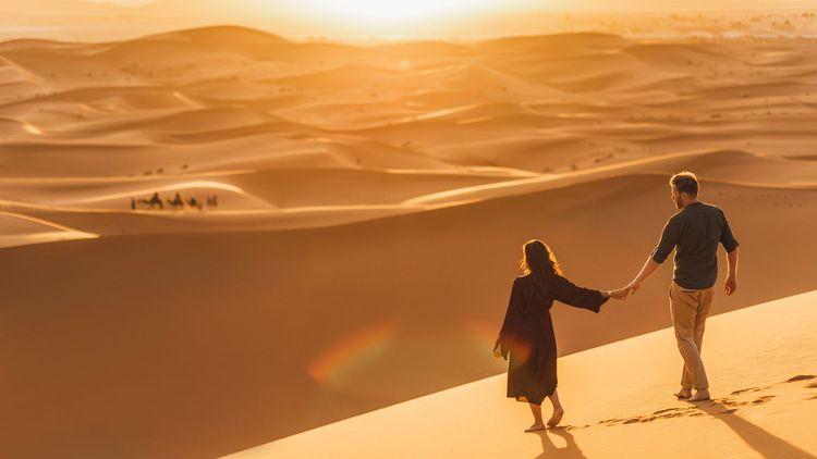 Walking in Morocco desert