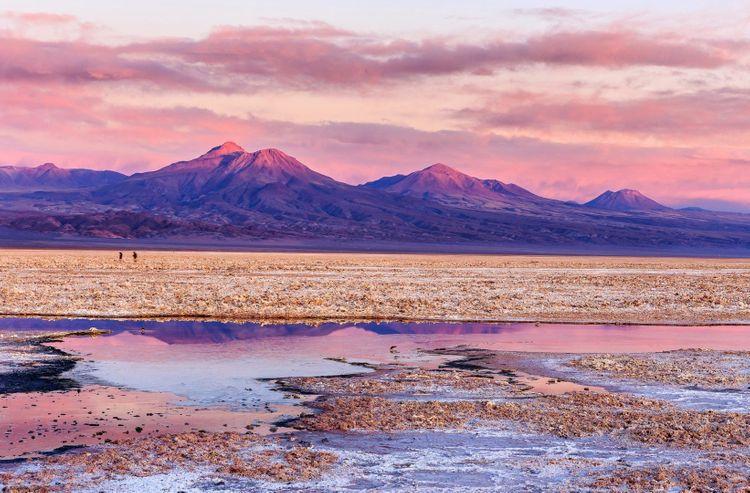 Salar de Atacama at sunset, Chile