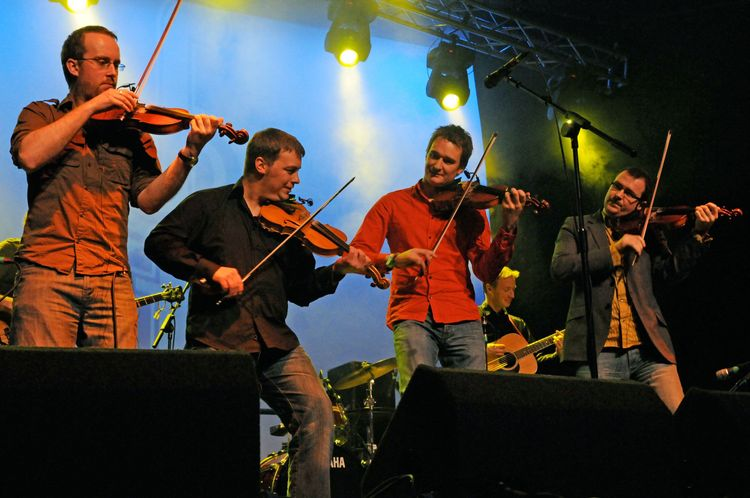 Fiddlers Bid playing at the Shetland Folk Festival.