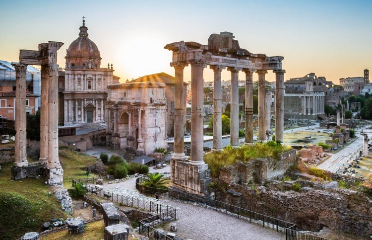 The Forum Romanum ruins in Rome, Italy