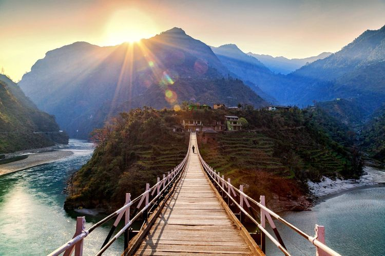 Beautiful island and Hanging Bridge On the way to Manali, Himachal Pradesh, Northern India © ImagesofIndia/Shutterstock