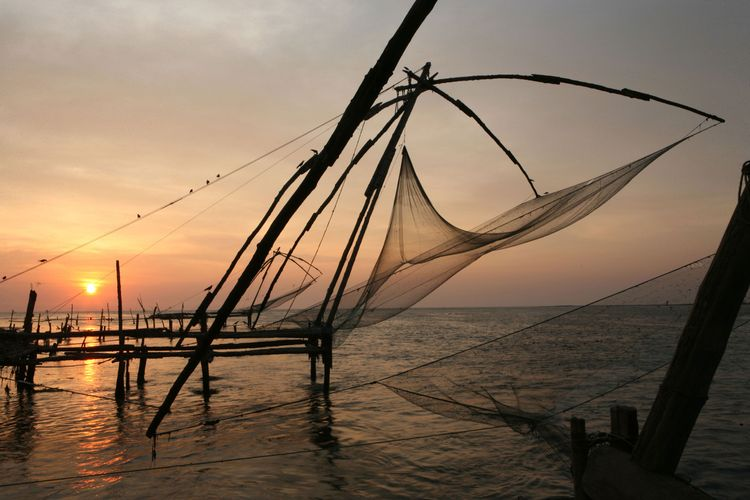 India, Kerala, Kochin, Chinese fishing nets hanging above sea at sunset