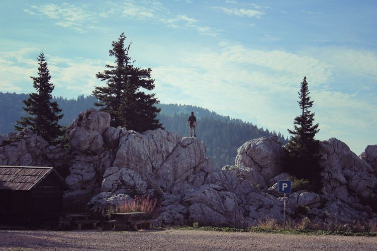 Mountains, traveller, backpacker