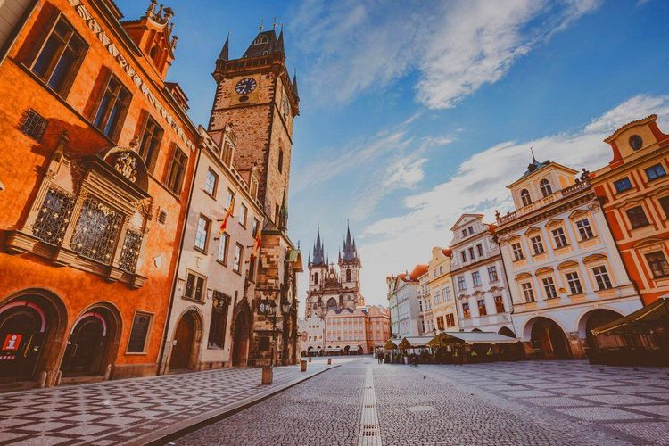 Town Hall and Tyn Church in Prague