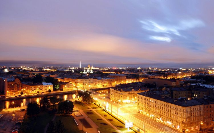 Picture taken at around 3:00 a.m. local time shows a view of St. Petersburg, a Russian city lying at 60 degrees north latitude. The day length in St. Petersburg can be nearly 20 hours in summer months, a natural phenomenon known as the White Nights that occurs in areas of high latitude.