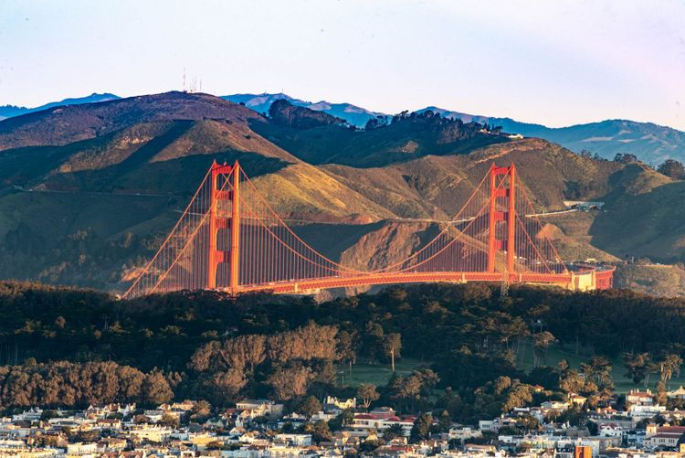 A view of Golden Gate bridge from the top of Twin Peaks mountain, the highest place in San Francisco