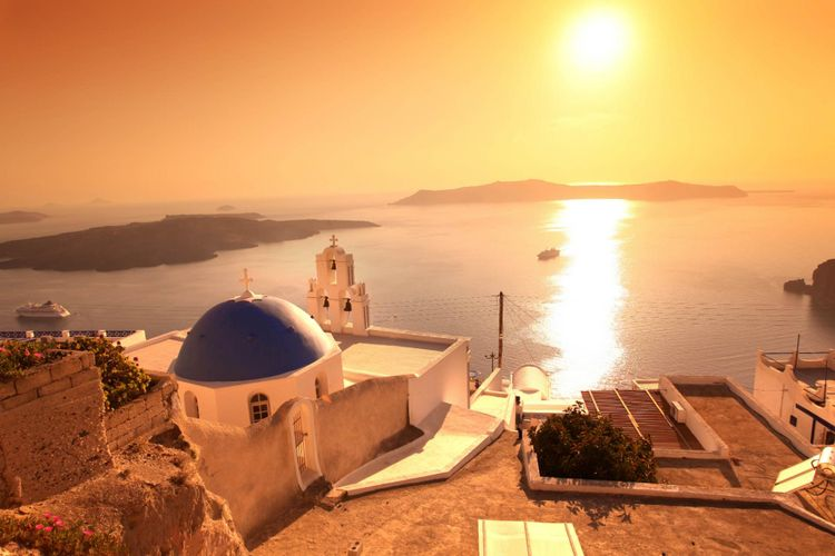 santorini sunset  fira greece beautiful sunsets