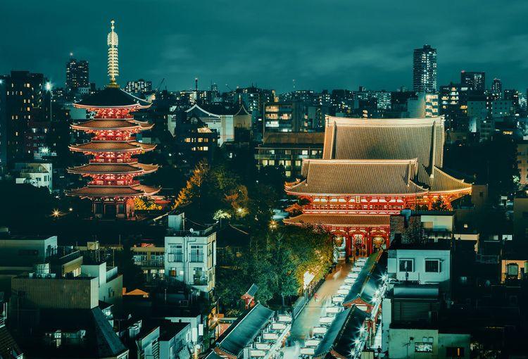 Senso-ji Buddhist temple at dusk in Asakusa, Tokyo © FenlioQ/Shutterstock