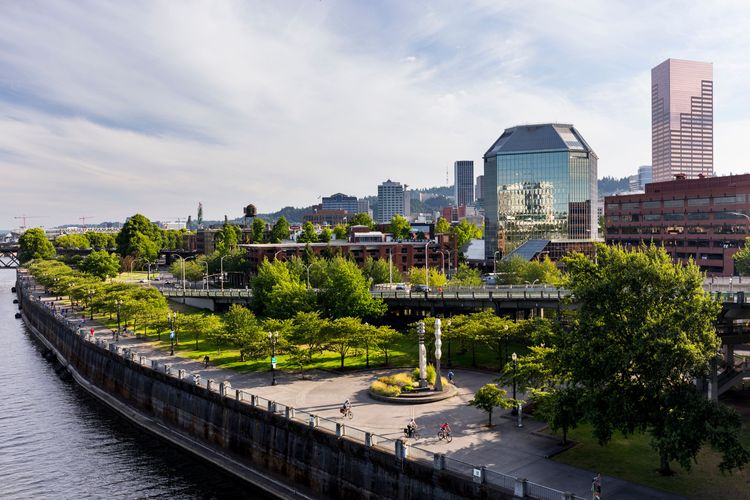View of downtown with waterfront park, Portland, Oregon, USA